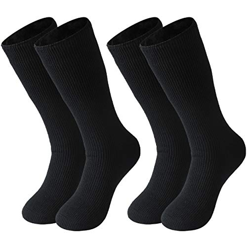 Men Winter Socks Thermal, Three street Extra Warm House Socks for Men Thermal Heat Heavyweight Comfort Hiker Crew Insulated Thick Trapping Boot Winter Socks For Extreme Cold Weather 2 Pack Black