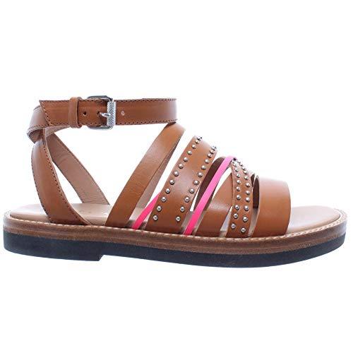 JANET & JANET Zapatos Mujer Sandalia Dafne Cuoio Fucsia Marron Piel Nuevos