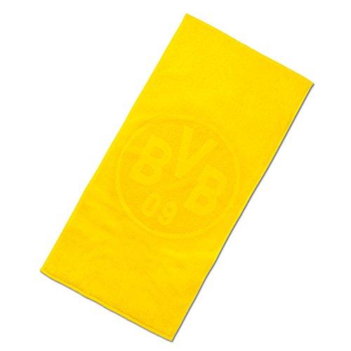 Borussia Dortmund BVB Badetuch mit Emblem, Baumwolle, Gelb, 180 x 70 x 1 cm