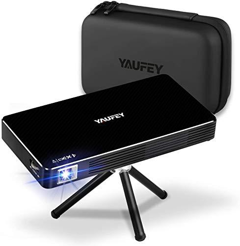 Yaufey Mini Beamer, DLP Beamer 150 ANSI Lumen Heimkino Tragbarer Pocket Projektor, Eingebaute Batterie mit Android System, Support WLAN, HDMI USB TF-Geräte, Mit Tragetasche und Stativ