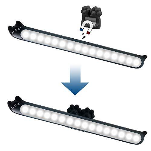 KSIBNW Barra de Luz de Control Táctil con Iluminación Regulable para Debajo del Gabinete, Alimentada por USB, con Batería Incorporada de 2000 mAh y Soporte Magnético de 3M, Lámpara de Lectura Negro