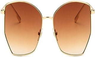 FRGTHYJ - FRGTHYJ Gafas de Sol polarizadas 1PC Gafas de Sol Irregulares Retro Gafas de Sol Transparentes de Metal para MujerGafas de Sol de Gran tamaño UV400 Gafas de Sol Gafas de Conductor B