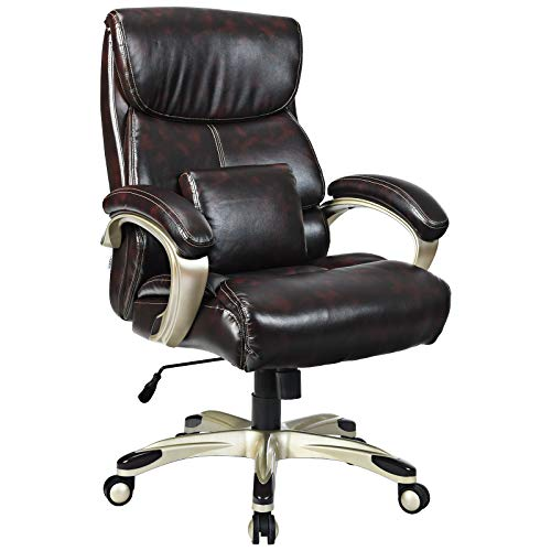 Giantex Big and Tall Leather Office Chair 400lbs, Executive Office Chair w/Lumbar Support Pillow, Soft Sponge, Heavy Duty Executive Chair, High Back Office Chair, Leather Desk Chair (Brown)