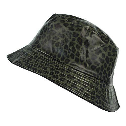 TOUTACOO, Sombrero para la Lluvia, Encerada Mate, Mujer, Estampado de Leopardo (Verde Oscuro)