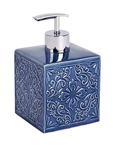 Wenko Seifenspender Cordoba, nachfüllbarer Dosierer für Flüssigseife, Lotion oder Spülmittel, aus hochwertiger Keramik mit spanischen Ornamenten, 13 x 8.5 x 8.5 cm, Füllmenge 500 ml, Blau