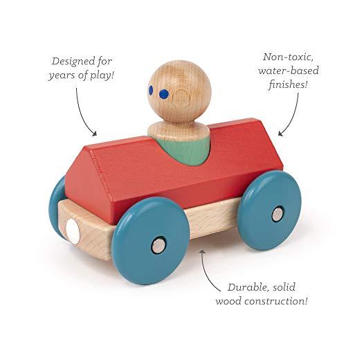 Tegu 00807 Holzauto, Rot, Blau, Holzfarben