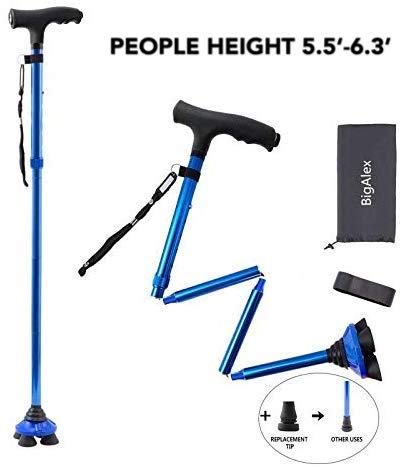 BigAlex Folding Walking Cane with LED Light,Pivoting Quad Base,Adjustable Walking Stick with Carryin - http://coolthings.us