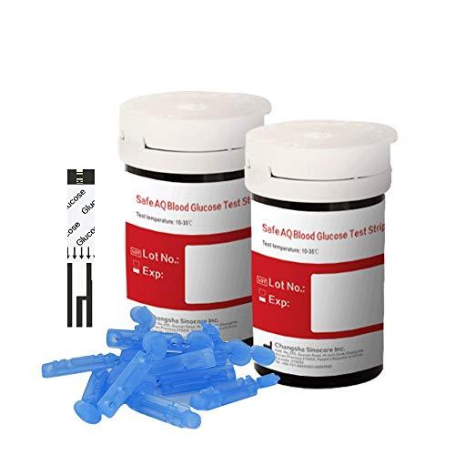 sinocare Medidor De Glucosa En Sangre/Tiras De Prueba Reemplazo/Diabetes Strips/Codefree Tiras reactivas de glucosa en sangre Para ES diabéticos (AQ Tira de Prueba x 50)