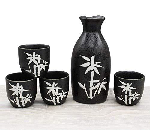 Japanese Ceramic Sake Set ~ 5 Piece Sake Set (Included 1 TOKKURI bottle and 4 OCHOKO cups) W/ Bamboo Patterns