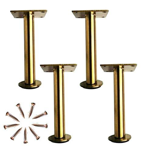 DX set met 4 meubelpoten, meubelpoten, meubelpoten van metaal, moderne industriële stijl, salontafel en kasten, om te knutselen (160 mm, goudkleurig)