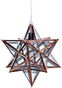 Lámparas y luz, cristal y hierro, nueva Navidad decorativo para colgar 12punta de cristal Star, 30x 30x 38cm, marco de cobre con cristal transparente