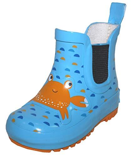 Maximo 931500 - Botas de goma de caña corta con parte alta de caucho natural en color azul aguamarina, mini cangrejo, color Turquesa, talla 26 EU