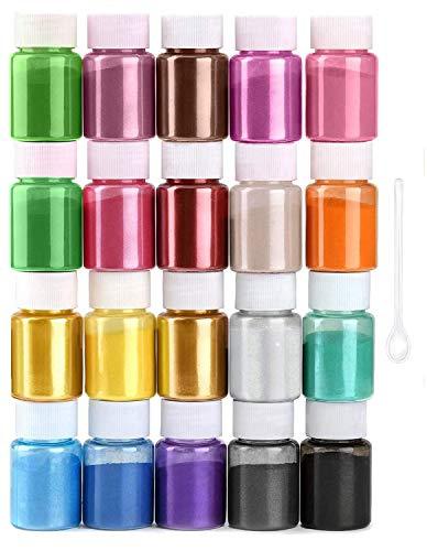 JEMESI Naturale Pigmenti Coloranti, Mica Powder 10g*20 Colori Mica Polvere Colorante Polveri Perlato per DIY,Sapone, Slime,Candele, Acquerello, Cosmetici