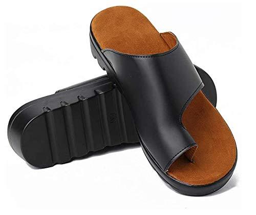 JRFWD Sandalias de corrección de dedo gordo de tacón medio (3-5 cm) de piel sintética para playa, cómodas sandalias de plataforma zapatos ortopédicos, negro, 41