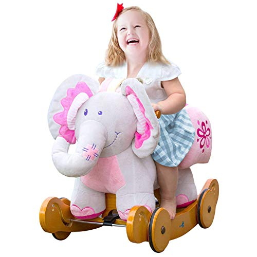 labebe - Baby Rocking Horse, Child Elephant Rocker with Wheels, Pink Plush Ride on Toys for 1-3 Year, Wooden Riding Toy for Kid/Toddler, Infant Outdoor Animal Rocking Chair, Stuffed Ride Along Toy