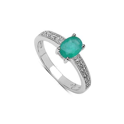 Silvancé - Anello da Donna - argento sterling 925 placcati al rodio - vera gemma: Smeraldo - R11486ZEWT_SSR_19
