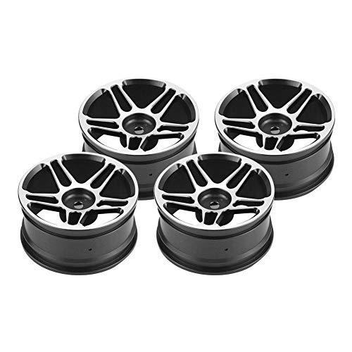 RC Auto Radnaben, 4 Stücke Naben Felgen Aluminiumlegierung Reifen für 1:10 Drift Racing Fernbedienung Auto Zubehör Teile(Schwarz)