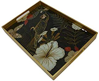serving tray with mirror flower pattrend -black, storage tray, coffee tray with handle (Black, Midum, 35x25 cm)