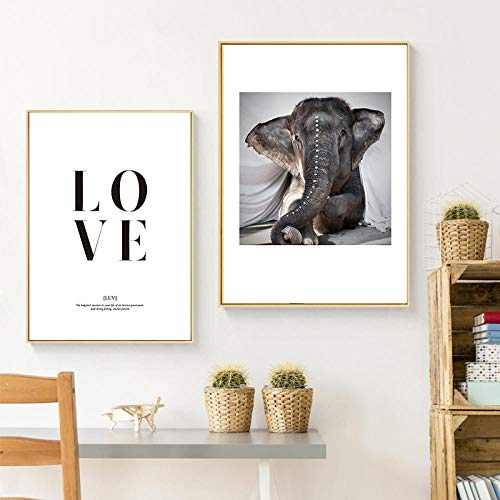 FGJF Elephant Love Home Decor Wall Art Nordic Canvas Painting Animal Print Poster Letter Living Room Painting Sweet Word Picture-50X70Cmx2 Pcs Frameless
