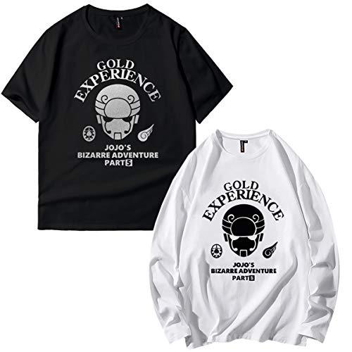 ジョジョの奇妙な冒険 長袖 Tシャツ 二枚セット ジョルノジョバーナ 半袖とロングスリープの組み合わせ 黄金の風 jojo メンズ コットン カットソー (XL,E)