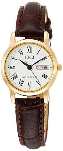 [シチズン Q&Q] 腕時計 アナログ 防水 日付 曜日 革ベルト A207-107 レディース ホワイト