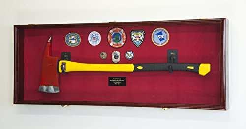 Firefighter Fireman Axe Display Case Cabinet Holder - 98% UV Lockable (Cherry Wood Finish, Red Background)
