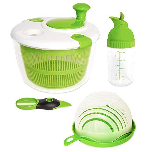 4 Piece Salad Maker: Salad Spinner | Avocado Slicer | Vegetable Cutter | Salad Chopper | Fruit Slicer | Salad Dressing Shaker