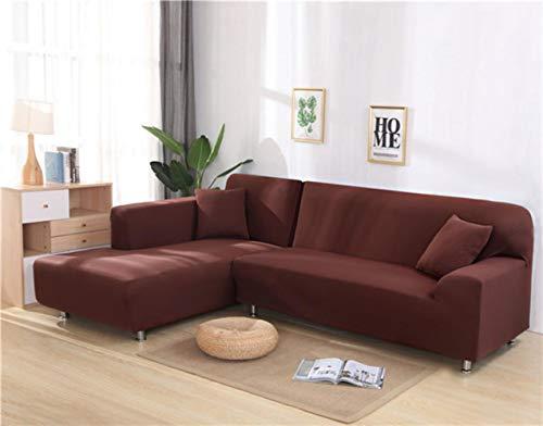 XCVBSofa Cover Sofa Stretch Couch Cover Kussenovertrekken voor Woonkamer Effen Kleur Elastische Sofa Cover voor L-vormige Hoekbank Chaise Longue, Lichte Koffie
