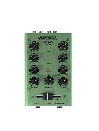 OMNITRONIC GNOME-202 Mini-Mixer grün | 2-Kanal-DJ-Mixer im Miniaturformat | Extrem leichter und kompakter DJ-Mixer | Metallgehäuse