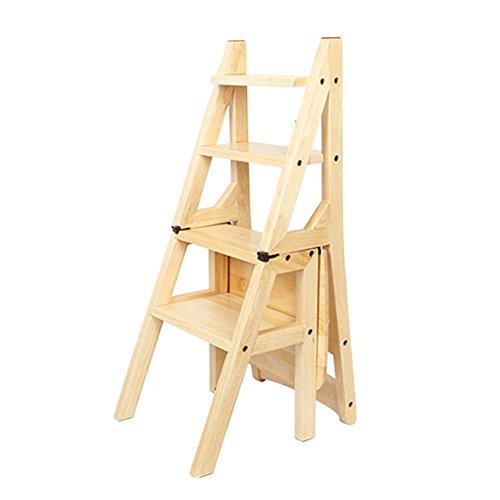 FEI Confortable Chaise pliante en bois Plier vers le haut Bibliothèque Steps Ladder Chair Utilisation de bureau de cuisine Solide et durable (Couleur : Couleur du bois)