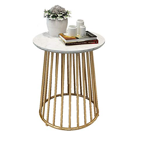 Glass Top Coffee Tables,Marble Coffee Table, Sofa Side Table for Laptop, Corner Table, Small Table Simple, Wrought Iron Bedside Table Round Table-Style 1 (45 * 50)