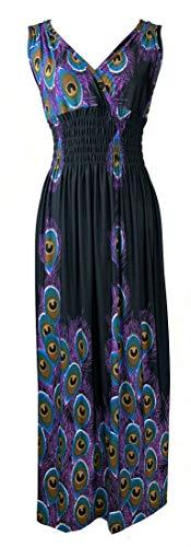 Plum Feathers Exotic Print Smocked Waist Maxi Dress Plus & Regular Sizes Peacock Black l