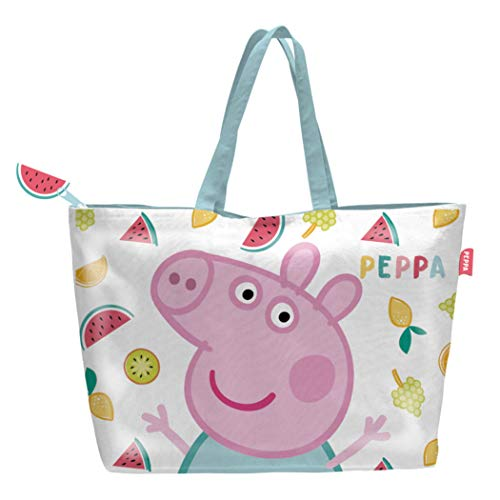Peppa-Pig Grand Sac de plage - Cabas enfant fille Blanc/rose 48x32cm