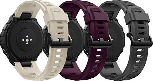 Abasic Correa de Reloj Compatible con Amazfit T-Rex, Impermeable Reemplazo Correas Reloj Silicona Banda (3PCS D)