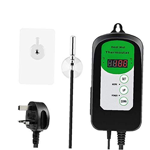 NaiCasy Mat Calor del regulador de Temperatura del termostato Digital para el Acuario del Reptil germinación de la semilla Brewing
