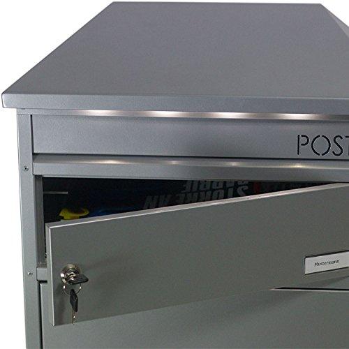 SafePost 95 LED Paketbriefkasten silber-grau mit gesichertem Paketfach Standbriefkasten Briefkasten - 4