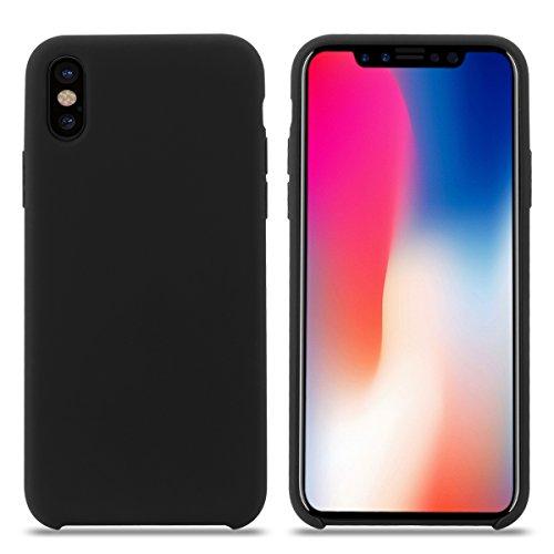 Cover iPhone XS MAX, Custodia Antiurto Gomma Gel Silicio Liquido con Fodera Tessile Microfibra Morbida Custodia iPhone XS MAX Silicone Protettiva Cover per Apple iPhone XS MAX.(XS MAX 6.5'', Nero)
