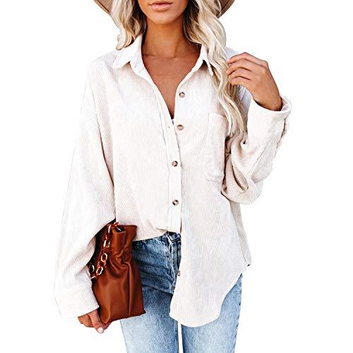 Camisa clásica de pana para mujer, de manga larga, con botones, holgada, para novio