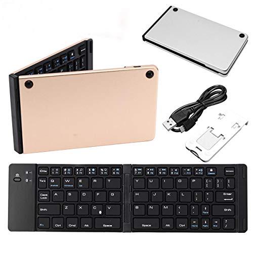L-yxing Obra de Arte Mini sintonizador Plegable Keyboard Bluetooth 3.0 66Keys Teclado Recargable inalámbrico Llaves de Alta Durabilidad (Color : Silver)
