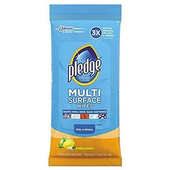 Pledge Multisurface Wipes Fresh Citrus 25 Wipes Per Pack  12 Packs
