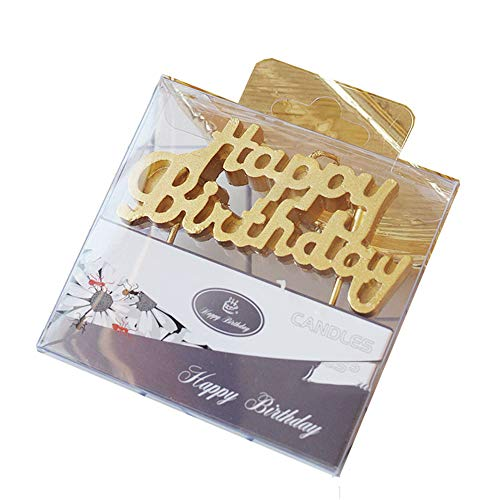 Wawabeauty Rose Gold Happy Birthday Letter Candle for Cake,Alphabet Birthday Candle for 1 2 3 4 5 6 7 8 9 10 Years Old Party Cake,1st 2rd 3nd 4th 5th 6th 7th 8th 9th 10th Cake Topper (Gold)