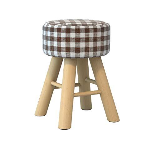 stool Sofá hogar de algodón y lino alto redondo simple creativo dormitorio sala de estar banco sillas perezosas (color: celosía)