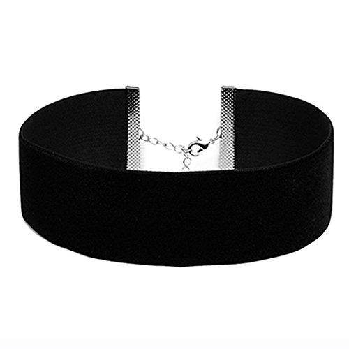 EROSPA® Gothic Velvet Halsband breit Collier Choker Punk Kropfband Samt Damen schwarz