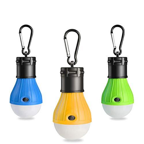 RISEMART 3 Stück Campinglampe mit Haken,LED Camping Laterne,Tragbare Zeltlampe Laterne Glühbirne Set-Notlicht für Camping, Wandern, Angeln, Jagen, Bergsteigen,Stromausfall (colorful)