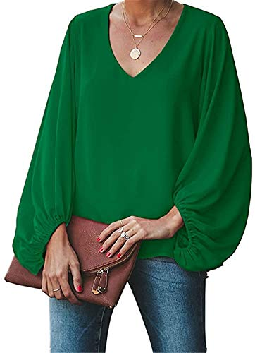 Imysty Womens Oversized Lantern Sleeve Chiffon Blouse Tops Casual Loose V Neck Shirts Pullover Green