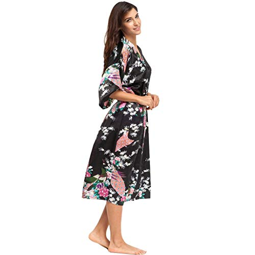 Luotuo Damen Morgenmantel Kimono mit Gürtel Sexy Gedruckter Kimono-Pfau Lose Bademantel Satin Lange Robe Pajamas Nachthemd Nachtwäsche Mit Blumenspitze