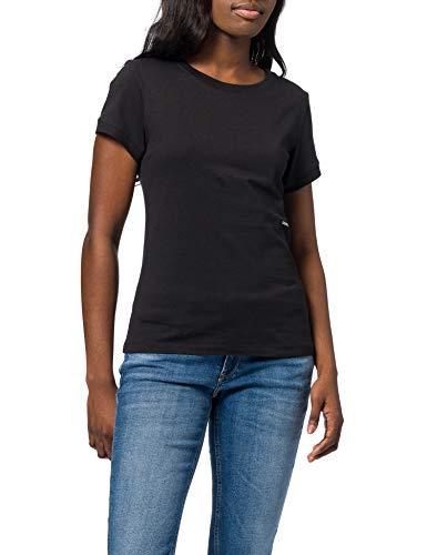 Calvin Klein Jeans Damen Micro Branding Off Placed Tee T-Shirt, Ck Schwarz, M