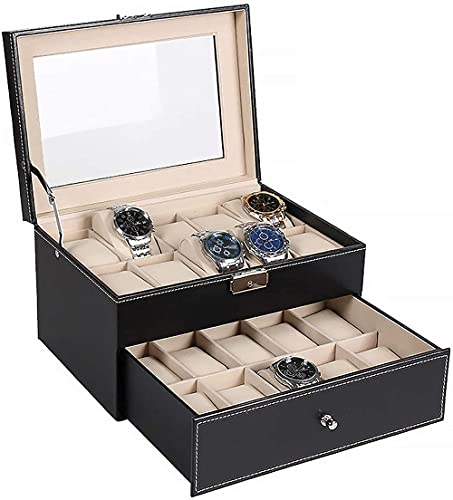Organizador de caja de reloj con cajón de valet con bisagra de metal superior de cristal real, 20 ranuras para guardar relojes para hombres y mujeres