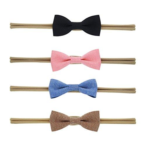 OULII 4 Stks Baby Meisjes elastische Hoofdband Strik Katoen Haarband Strikken Accessoires (Verschillende kleur)