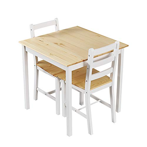 Panana Wooden Dining Table Set With 2 Chairs in Choice of Colours Dining Room Furniture Set (Natural)